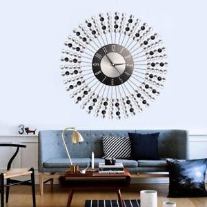 43cm Clear Black Diamante Beaded Jeweled Round Sunburst Metal Wall Clock New