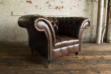 VINTAGE RUSTIC DARK BROWN DISTRESSED LEATHER CHESTERFIELD ARMCHAIR
