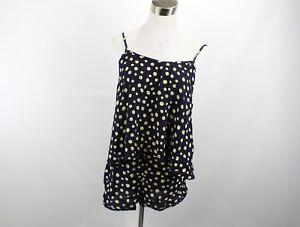 Tigerlily Womens Size 4 2 Piece Tank Top Shorts Button Print Lagenlook Navy Blue