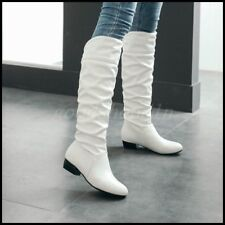 New Womens Pleated Knee High Boots Low Block Heel Pull On Casual Shoes SZ US4-13