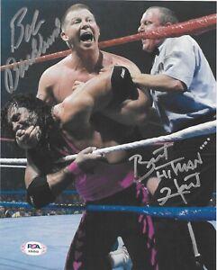 BRET HART & BOB BACKLUND WWF WWE SIGNED AUTOGRAPH 8X10 PHOTO W/ PSA/DNA COA