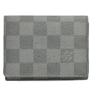 Louis Vuitton Enveloppe Carte de Visite Damier Graphite Card Case Holder Gray LV