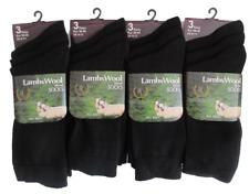 Mens Black Socks|12 Pair Wool Blend Sock|Gents Lambs Wool Sock|Black Lycra Sock|