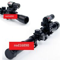 4x20 Optics Rifle Scope Sight+Barrel Mounts+Red Laser Sight For Airsoft Hunting