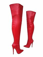CQ COUTURE OVERKNEE EXTREME HEEL BOOTS STIEFEL STIVALI LEATHER ZIP RED ROSSO 42