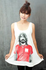 Dave Grohl Foo Fighters US Rock T2 Vintage WOMEN T-SHIRT DRESS Tank TOP Size M L