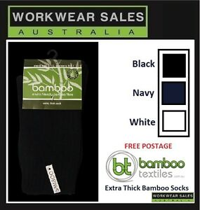Bamboo Socks Extra Thick Navy Black & White Size 4-10Mens 6-11Womens 92% Bamboo