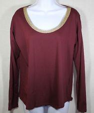 New listing Michael Kors Women's M Medium Wine Burgandy Gold Trim Long Sleeve Shirt