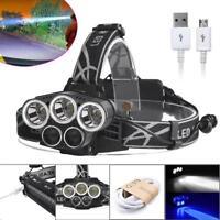 80000LM 5X XM-L T6 LED Rechargeable USB Headlamp Headlight Flashlight Torch ZH