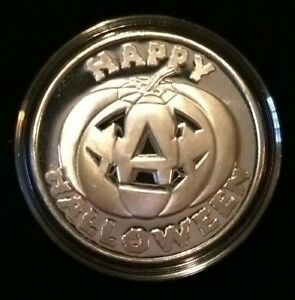 1 Troy oz .999 Fine Silver Bullion Round Medallion HAPPY HALLOWEEN Pumpkin 2018