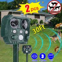 2pcs KCASA Solar Ultrasonic Animal Repellent Repeller PIR Motion Sensor Bird Dog
