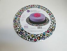 "Wilton 12"" Round CAKE BOARD Set (3) Ct. Multi-Color RAINBOW LEOPARD SPOTS"