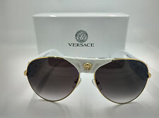 2017 Versace VE 2150Q  Medusa Aviator Sunglasses White Gold VERSACE 2150
