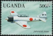 WWII IJN Mitsubishi A6M ZERO Carrier-Based Fighter Aircraft Stamp (1998 Uganda)