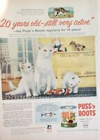 Lot of 3 Vintage  Puss 'n Boots Cat Food Advertisements Adds the Plus!!