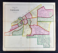1874 Cuyahoga County Map Cleveland Ohio in Wards Euclid Park Guyahoga River