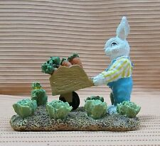 Rabbit Pushing Wheelbarrow Carrot Lettuce Gardening Sand Cast Figurine Free S/H