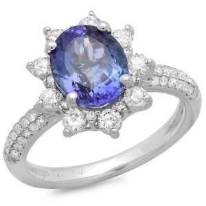 Certified Tanzanite 2.75cttw and 1.00cttw Diamond 14KT White Gold Ring