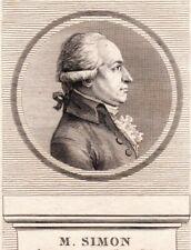 Portrait XVIIIe M. Simon Député Baillage De Caux Assemblée Nationale 1789