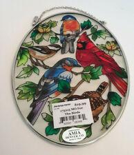Amia Stained Glass Suncatcher Missouri For the Birds, 5 X 7 Oval, #8348