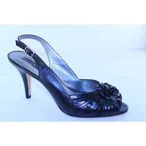 Bandolino Renay Womens Size 10 M Black Leather Slingback High Heels Sandals Shoe