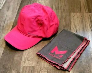 MISSION HYDRO ACTIVE PINK CAP/HAT + GRAY TOWEL NEW