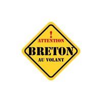 Autocollant breton au volant carré jaune sticker Taille:8 cm