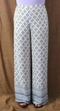 BCBG Maxazria New Pants L size Long Lightweight Off White Blue Floral 198.00