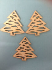 10 NATURAL WOODEN CHRISTMAS TREE CARD MAKING SCRAPBOOKING CRAFT EMBELLISHMENTS