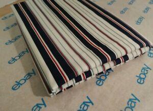 Flat Twin Sheet Bedding Polyester Cotton Red White Blue Gray Stripe 68x96 NWOT