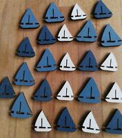 24  x Holz Streuen Blau Segelboot Schiffe Boote Maritime Tischdekoration Deko