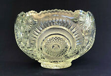 vintage L.E. Smith clear glass punch bowl PINWHEEL & STARS