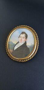 RARE- Circa: 1800-1825 - HP MINIATURE FOLK ART PORTRAIT PAINTING OF SEA CAPTAIN