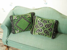 "2 edle, grün-schwarze BROKAT-Sofa-KISSEN ,Miniatur Puppenstube 1:12,""Orient"""