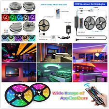 5M 10M 20M SMD 3528 5050 RGB 300LED Strip Light Flexible IR Remote Power Supply
