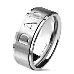 Mens DAD Ring Stainless Steel Silver 8mm Width Gift Christmas Fathers Day
