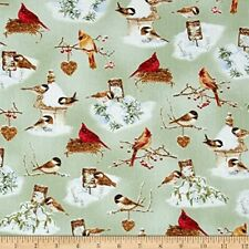 A Winter's Song Cotton Fabric  Birds in Snow  Christmas Henry Glass  BTY   Bfab