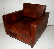Urban Retro Low Sitting Flip Out Chair Bed  In Chestnut Faux Leather