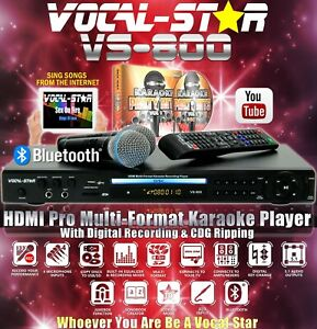 Vocal-Star VS-800 CDG DVD Bluetooth Karaoke Machine 2 Microphones & 150 Songs