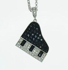 18K White Gold Mirabelle Sapphire & Diamond Elton John Piano Pendant Necklace