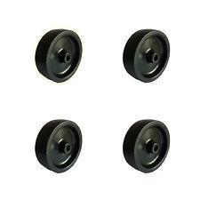 SET OF 4 x 75mm.dia. Black Tyre, Black Centre Wheels. 8.2mm. bore*