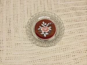 VTG Westmoreland Glass Red Hand Painted Rose Signed B.Weiss 1977 Pin Dish