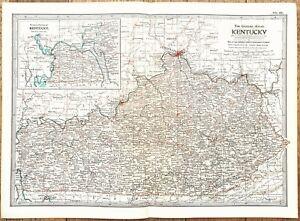 1906 Kentucky Map Louisville Covington Paducah Lexington Hartford Railroads RARE