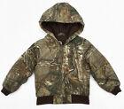 Carhartt Boys RealTree Xtra Camo Jacket Quilted Lining Hooded Coat Sz XXS 4/5