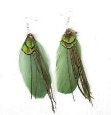 Peacock Green Feather Earrings Silver Hook Boho Festival Chandelier Vintage 5892
