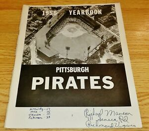 1956 Pittsburgh Pirates Yearbook with Team Signed Pages - Missing Front Cover