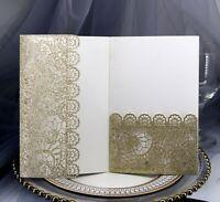 Glitter Laser Cut Lace Wedding Anniversary Invitation Card Bridal Shower
