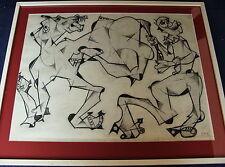 Heinz Friedrich Kirchner1926-2000,kubistische Komposition,Kohlezeichnung,um 1950