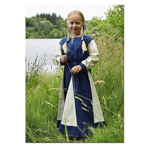 Kinder Wikingerkleid Solveig blau/natur Wikinger Mittelalter Mittelalterkleid