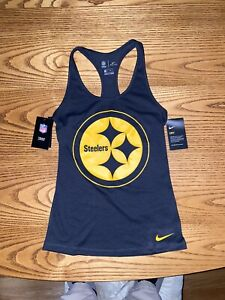 NIKE PITTSBURGH STEELERS NFL WOMENS SLIM FIT PERFORMANCE TANK TO X-SMALL